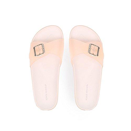 Ideal Shoes Nu-Pieds en Plastique Solange Beige