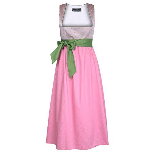 Schwangerschaftsdirndl Luise in Rosa mit Blumen und Punkten mit grüner Schleife