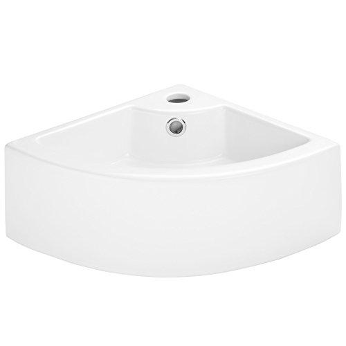 TecTake Lavabo de cerámica rectangular lavamanos esquina encimera cuenca mano baño tocador   -varios modelos- (Tipo 2 Lavabo esquina   no. 402570)