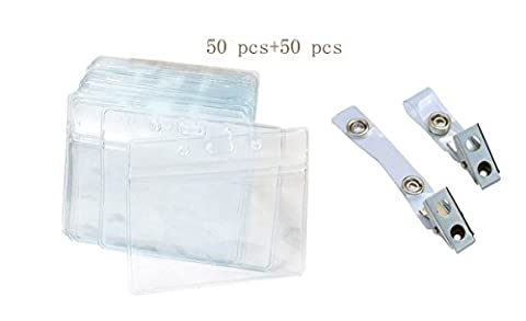50pcs en plastique transparent horizontal carte d'identité Nom Tag badge