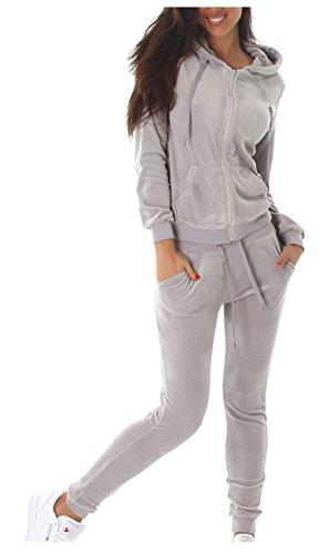 Jela London Damen Velours Nicki Freizeitanzug Hausanzug Jogginganzug 2-teiler mit Kaputze Nicki-Anzug S-M-L 7 Farben (L, Grau)