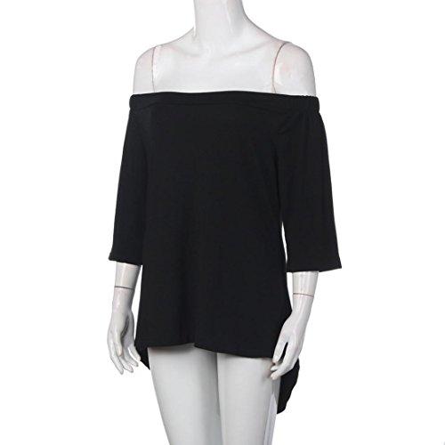 WOCACHI Damen Sommer T-Shirts Frauen reine Farbe weg von der Schulter unregelmäßigen beiläufigen kurzen Hülsen T-Shirt Oberseiten Bluse Tops Schwarz