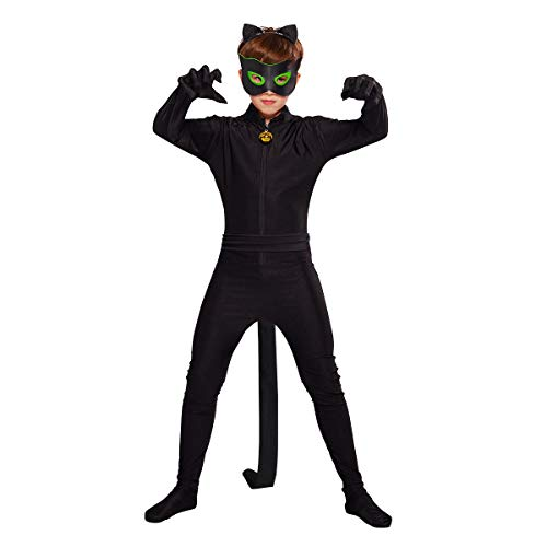 URAQT Cat Noir Kostüm Set, Cartoon Miraculous Cat Noir, Set Jumpsuit Augenmaske Ohr Gürtel Schwanz Schwarz, Jungen Kostüm Jumpsuit Kinder Halloween Karneval Schwarz Overall Cosplay Faschingkostüme - Captain Kostüm Kinder