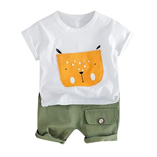 Diath Kinderbekleidung Overalls FüR Baby, Cartoon Welpe Drucken T-Shirt Tops + Hosen Ausstattungs Kleidung Satz