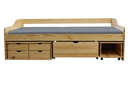KMH, Massivholz Kojenbett/Kinderbett/Jugendbett mit Bettkasten, Schubladen und Nachttisch (200 x 90 cm/Incl. Lattenrost/Natur) (#201104)