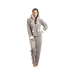 Camille lusso grigio Supersoft in pile con cappuccio pigiama Set 42/44