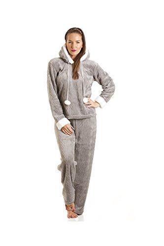 - 31NQfhuGz1L - Camille Womens Ladies Luxury Supersoft Fleece Hooded Grey Pyjama Set 10-20