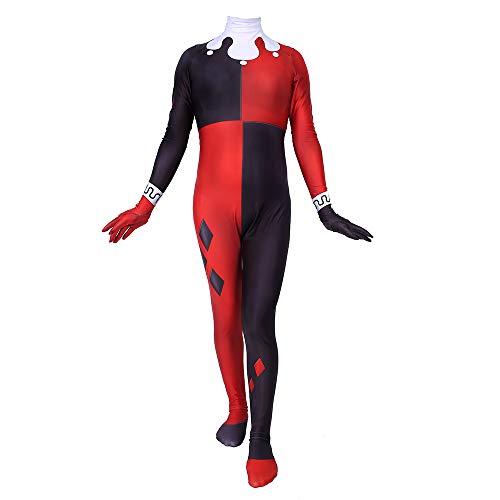 Kind Erwachsener Harley Quinn Kostüm Superhelden Cosplay Verkleidung Halloween Mottoparty Strumpfhosen 3D Druck Spandex Onesies,Adults-XXXL