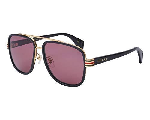Gucci Sonnenbrillen (GG-0448-S 003) schwarz glänzend - gold - pflaumenfarben