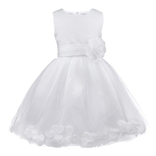d Prinzessin Kleid Partykleid Festlich Hochzeits Blumenmädchen Kleider 92 98 104 110 116 128 140 152 164 (104 (Herstellergröße: 4), Weiß) (Blumen-mädchen-kleid Weiß)