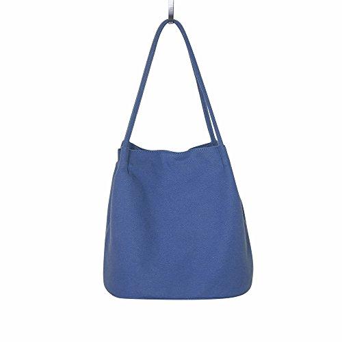 dabe2e510255b mixinni® Canvas Tasche Damen Eimer Tasche Schultertasche Tragbar Segeltuch  Schulterbeutel Umhängetasche Messenger Tasche Blau
