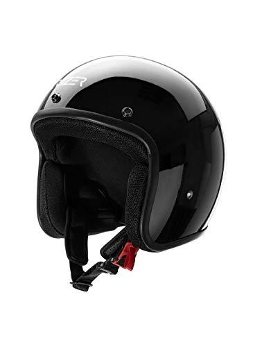 CRUIZER - Casco omologato per scooter moto Jet Nero Lucido senza visiera con calotta esterna in fibra, visierino parasole rimovibile, interni anallergici e traspiranti (S)
