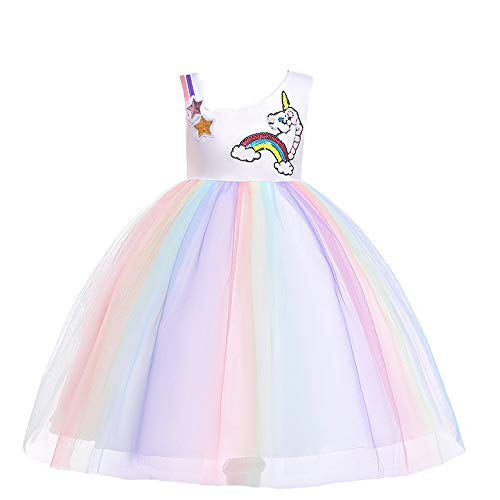 MerryGirl Baby Kleidung Tutu Prinzessin Birthday Party Unicorn Cosplay Säuglingskleid (Lila-1, 6-7y)