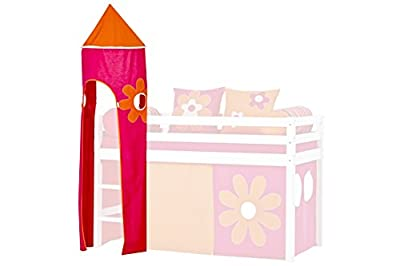 Hoppekids Flower Power Tower for Half-High Bed including Frame, Fabric, Pink
