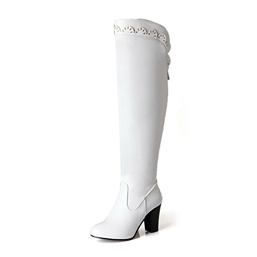 VogueZone009 Damen Rein Ziehen auf PU Leder Hoch-Spitze Hoher Absatz Stiefel, Weiß, 38