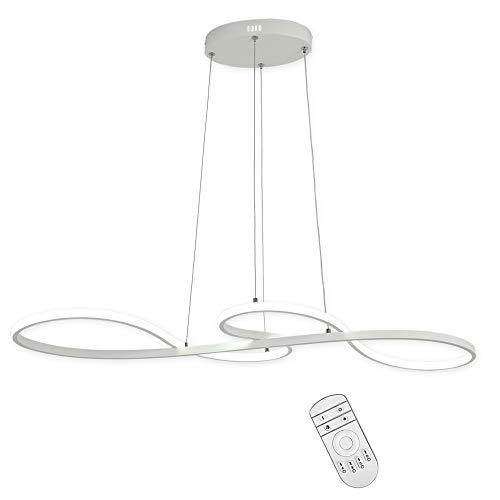 KOONTING 48W LED Pendelleuchte Dimmbar Moderne Kronleuchter Esstisch Hängelampe Wohnzimmer Küche Deckenleuchte Aluminium + PMMA Hängeleuchte(3000K-6000K,200-1850 Lumen)