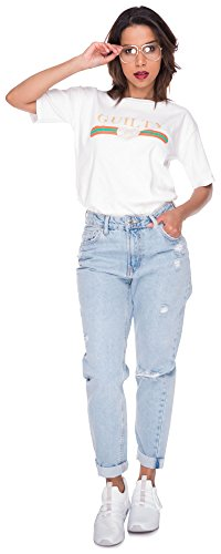 Loomiloo Oversize Shirt Logoprint Damen T-Shirt Top Oberteil Tshirt Oversized Guilty Mercy Guilty Weiß