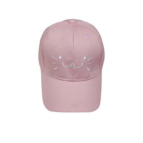 Fuibo Baseball Cap, Kleinkind-Baby scherzt Karikatur-Katzen-Gesichts-Hysteresen-Baseball-Hut-Jungen-Mädchen-Hut-Kappe| Kinder Kappe Fischerhut Schirmmütze Strohhut (Pink)