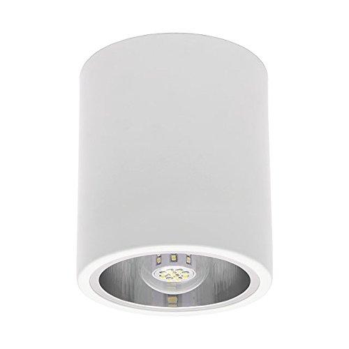SET: 12W LED Aufbauspot, LED Deckenaufbauleuchte, Aluminium Deckenleuchte Rund Ø133mm x 160mm, Weiss + E27 12W LED, LumenTEC