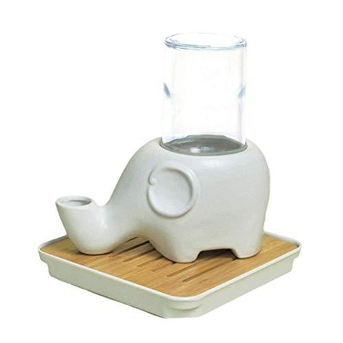 Nicht nassen Mund Glasschale Keramik Elefant-Form-Haustier-Trinker mit Holztablett für Hunde Hunde Kleine Hamster Chinchillas Home Mini-Trinker,Weiß