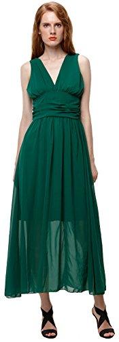 U-SHOT Femme en mousseline de soie col en V plissé Soirée Demoiselle d'Honneur robe de bal robe longue tunique pour femme vert foncé