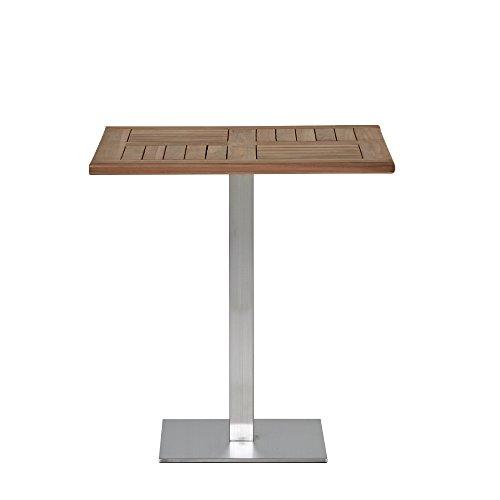 Homy Bistrotisch Holz Metall Tischplatte Massivholz Teak unbehandelt 70x70cm Metallgestell Edelstahl - Alvajo