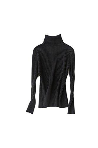 Pull manches longues à col roulé Yacun féminin Stripes Black
