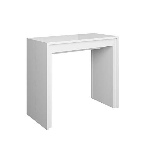 Itamoby arcobaleno 110cm consolle allungabile, pannelli di nobilitato, bianco lucido, l.11 x p.42 x h.78