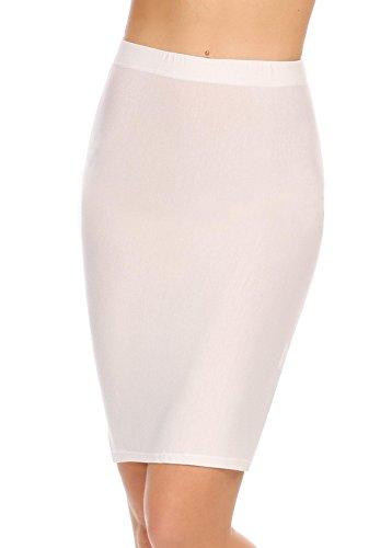 ADOME Damen Shapewear Unterröcke Unterkleid Taillenhoher Miederrock Figurformender Shapingkleid bauch weg Formende Underskirt Miederkleid Lingerie Unterwäsche Dessous kleid, Blau Schwarz Weiß S-XL (Spandex-mini-kleid Dessous)