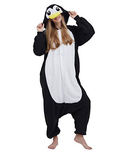 Jumpsuit Onesie Tier Karton Kigurumi Fasching Halloween Kostüm Lounge Sleepsuit Cosplay Overall Pyjama Schlafanzug Erwachsene Unisex Schwarz Pinguin for Höhe 140-187CM