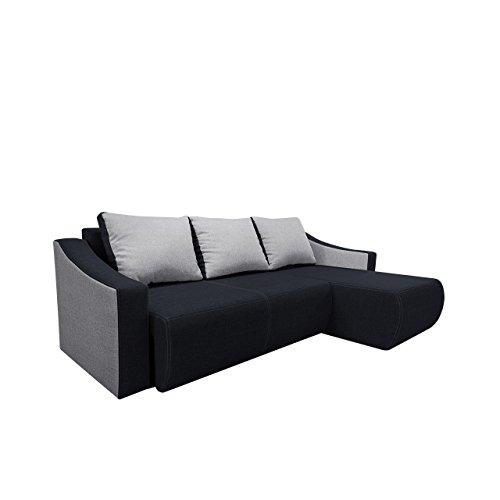 Mirjan24  Ecksofa Oscar Design Eckcouch mit Schlaffunktion! und Bettkasten! Sofa Couch! Wohnlandschaft! Funktionssofa L-Form (Ecksofa Rechts, Lux 08 + Lux 05)