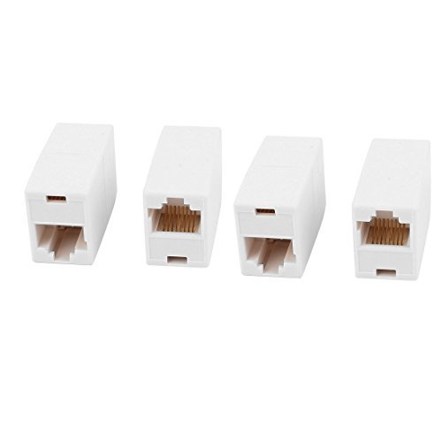 DealMux 4Pcs RJ45 8P8C F/F Network Cable Connector Adapter Extender Coupler Joiner White (Connector Joiner)