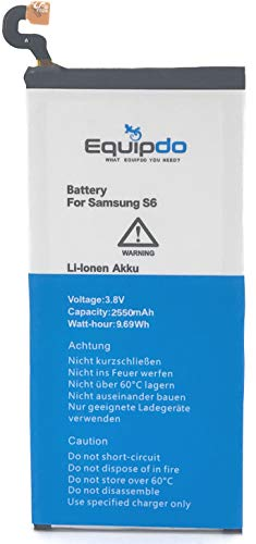 Equipdo Akku für Samsung Galaxy S6 EQD-SG6 Li-ion 2550mah