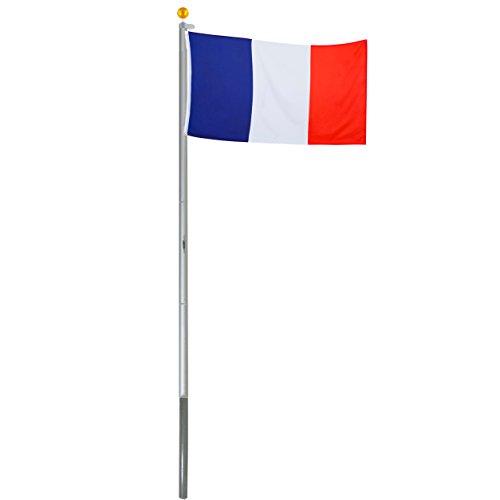 Brubaker Mât de drapeau en Aluminium - Hauteur 6 m - Drapeau France 150 x 90 cm inclus - Kit complet avec Fourreau de fixation