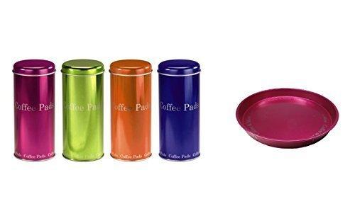 Kaffee Pad Behälter 4-er Set Neon Pink/Grün/Orange/Blau (pink)
