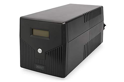 DIGITUS Line-Interactive USV, 1000VA, 600W, 2x Batterie (12V / 7Ah), 4x Steckdose, PC-Steuerung, RJ-11/RJ-45, LCD-Display Display Poe Pc