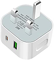 3 pin Charging adapter USB C PD & QC3.0 20W Fast travel charger adaptor Compatible for iPhone charging ada