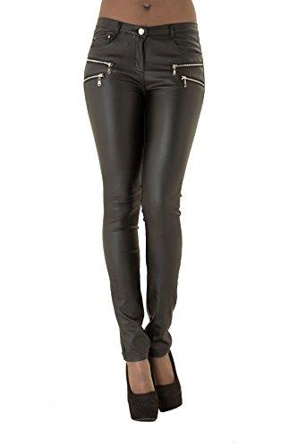Mujer Talle Alto Pantalones De Cuero Negro Rosa Marina Blanca Piel Sin
