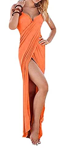 Fulok Women's Beach Cross Front Slit Bandage Solid Maxi Dress Medium orange