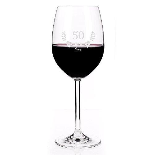 Leonardo Weinglas mit Gravur des Names zum 50. Geburtstag - Happy Birthday - die Geschenkidee
