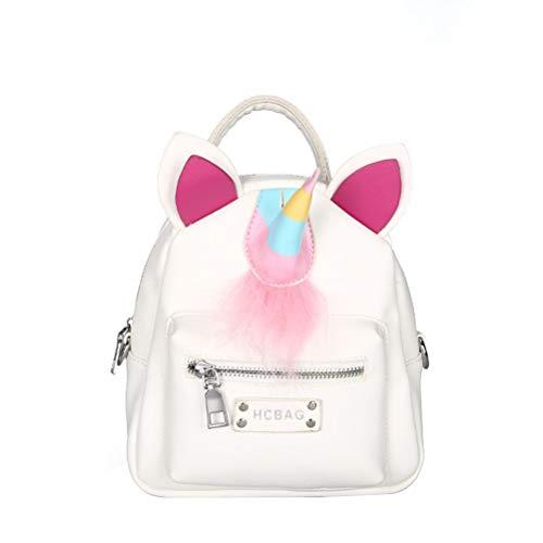 FENICAL Mochila de Cuero de la PU Bolso del Unicornio Bolsas de Escuela de la niña de la Felpa de Moda (Blanco)