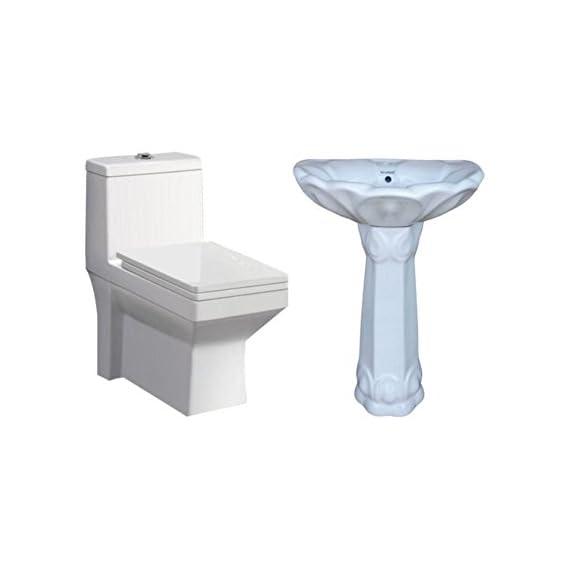 Belmonte One Piece Water Closet Ripone S Trap With Lotus Pedestal Wash Basin - White