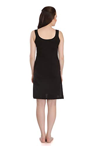 Splash Cotton Rich Camisole Slip for Women| Long Kurti Slip/Suit Slip/Camisole Slip Knee Length - 139 Black