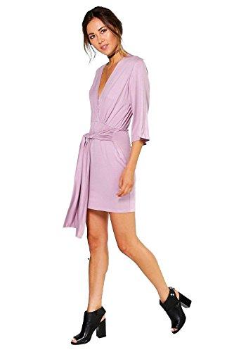 Mauve Femmes Carmel Emballage Avant Plunge Cou Robe Mauve