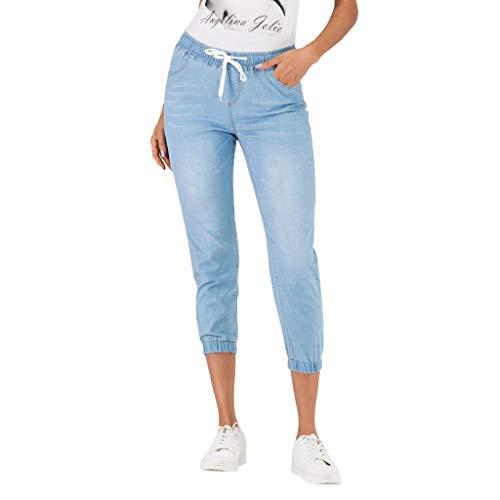 Damen Caprihose, LeeMon Frau Denim Jogger Pants Damen Drawstring Elastic Waist Jeans Cropped Trouser Capri Jeans Hose - Capri Cropped-jeans