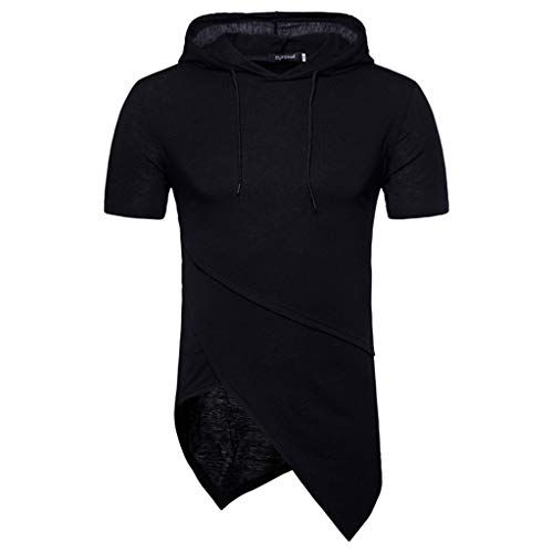 Celucke T Shirts Männer mit Kapuze T-Shirt Herren Asymmetrisch Biker Kurzarm Kapuzenshirt Hoodie Sweatshirt Slim Fit Stretch Basic Coole Kurzarmshirt Mann Casual (Schwarz,XXL) Stretch Hoodie Sweatshirt