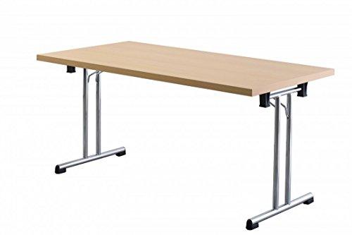 Büro-klapptisch (Büro-Klapptisch DR-Büro - Maße 160 x 80 cm - 2 Farbvarianten - Höhe einstellbar 73,5 cm - Gestell silber - leicht zusammenklappbar - Besprechungstisch, Farbe Büromöbel:Buche)