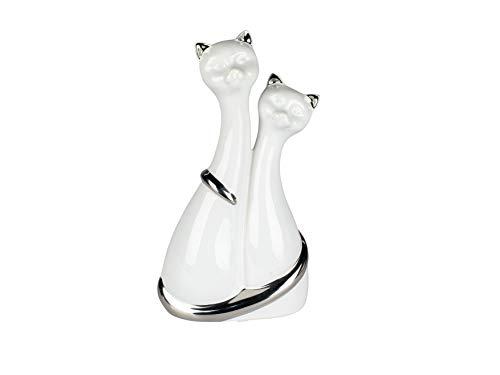 Lifestyle & More Skulptur Dekofigur Katzenfigur Paar Katzen aus Keramik weiß und Silber Höhe 25 cm