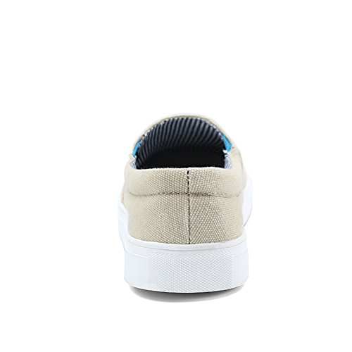 JEDVOO Uomo Unisex Adulto Scarpe da Ginnastica Basse Sportive Outdoor Tennis Running Sneakers classic slip-on Beige