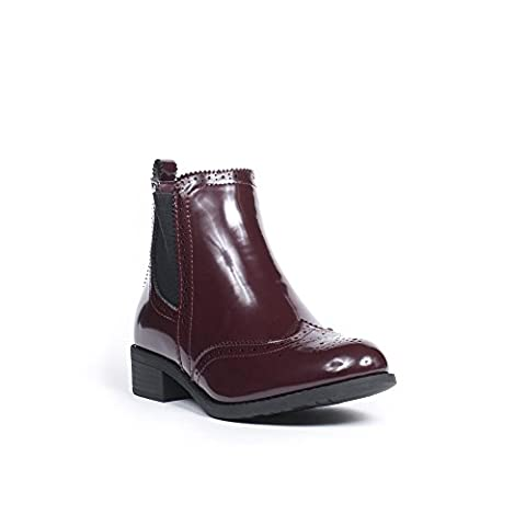 Ideal Shoes - Bottines Chelsea effet verni Allyssia Bordeaux 36